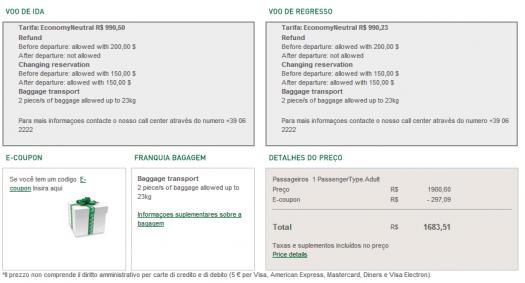 Codigo promocional Alitalia