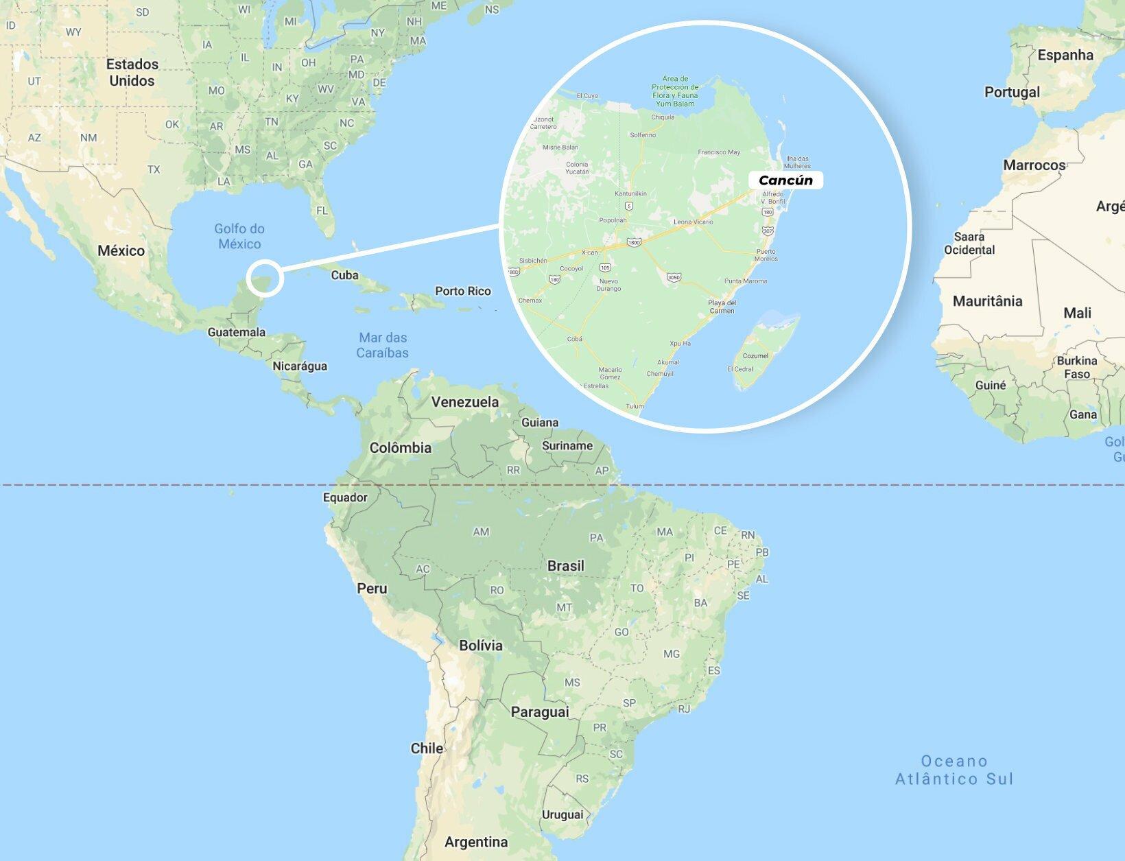 onde fica cancun mapa
