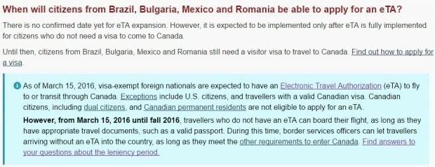 Site do governo canadense diz que ainda não há previsão de início do eTA no Brasil