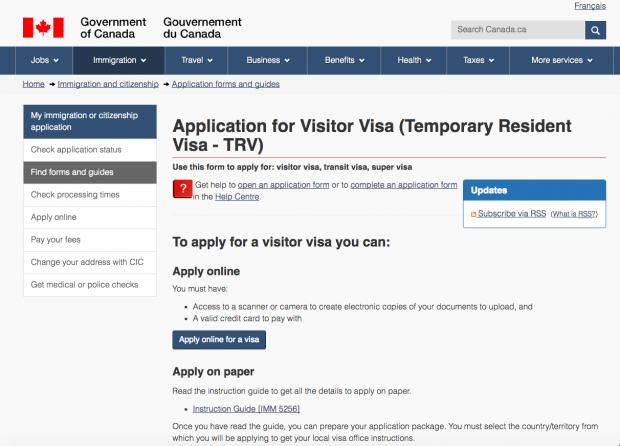 Site de solicitação do visto