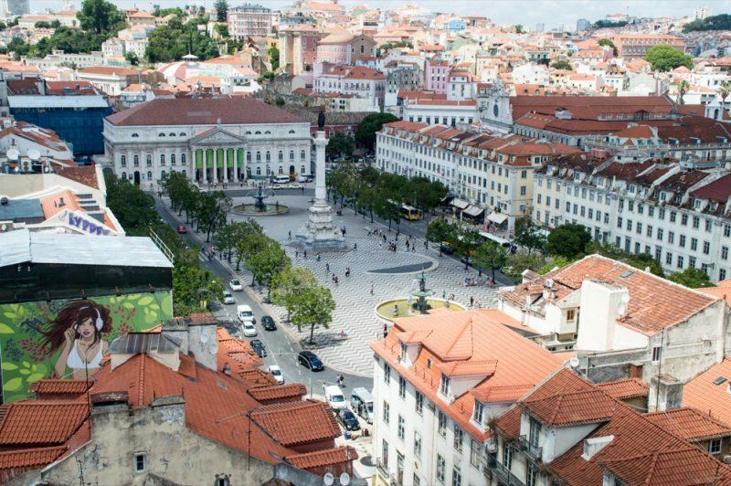 A Praça do Rossio vista do miradouro de Santa Justa