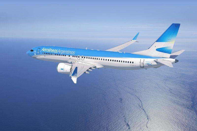 Projeção de como será o 737MAX com as cores da Aerolíneas