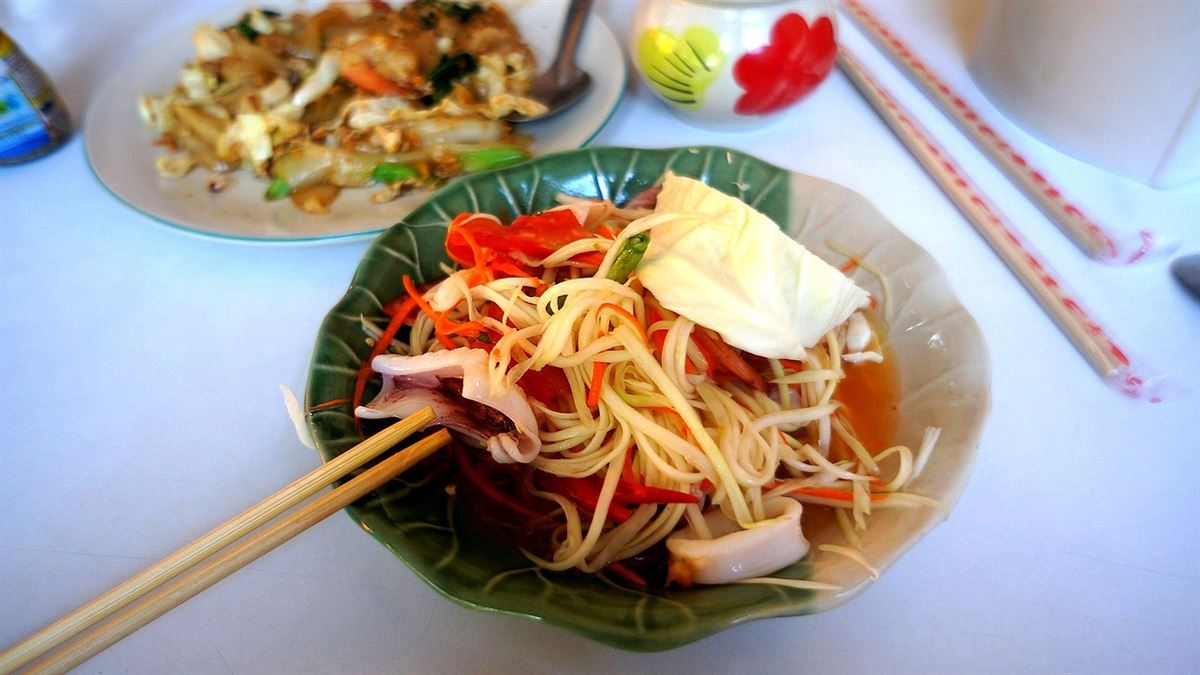 somtam, comida tailandesa