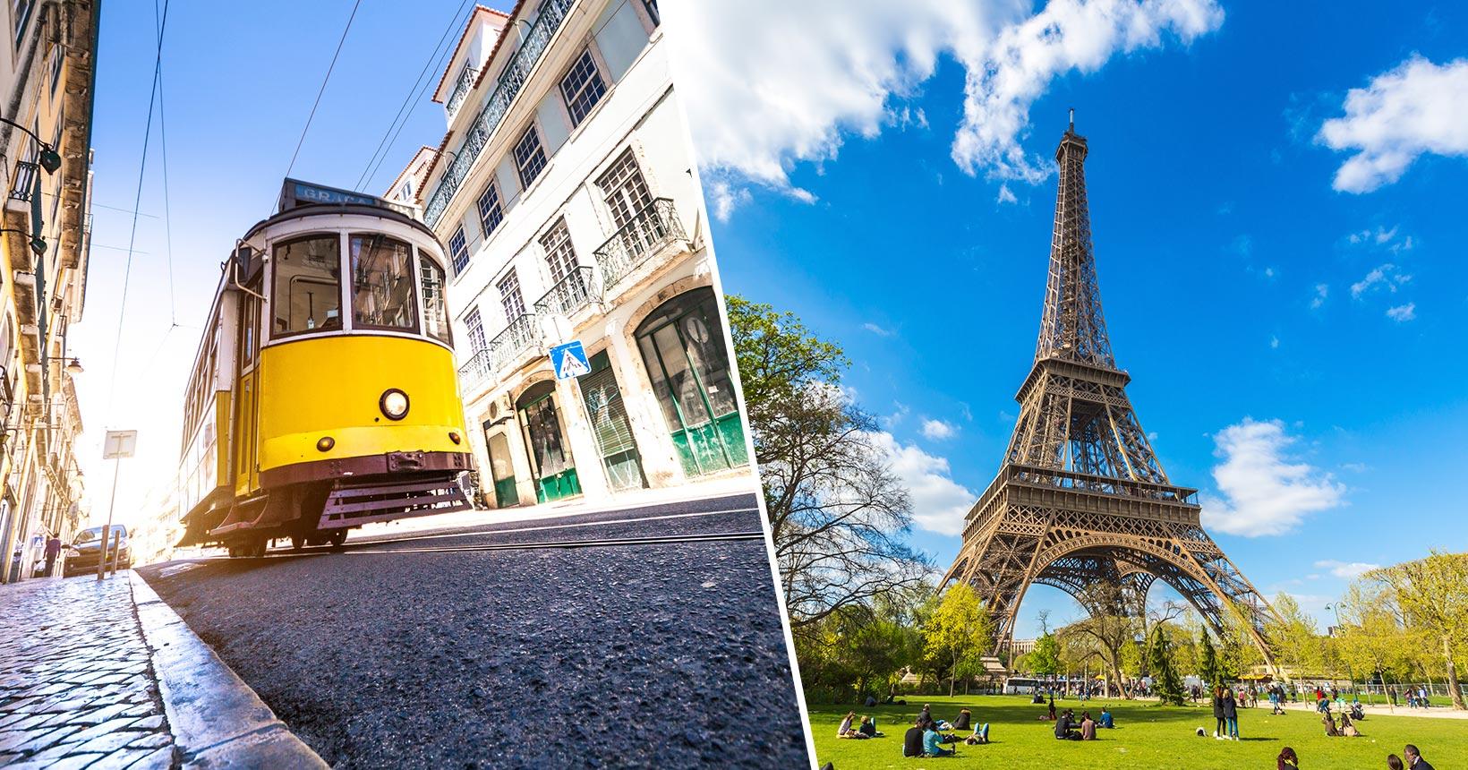 Voos para Lisboa e Paris na mesma viagem a partir de R$ 2.161 saindo do Salvador, Porto Alegre, São Paulo e mais cidades!