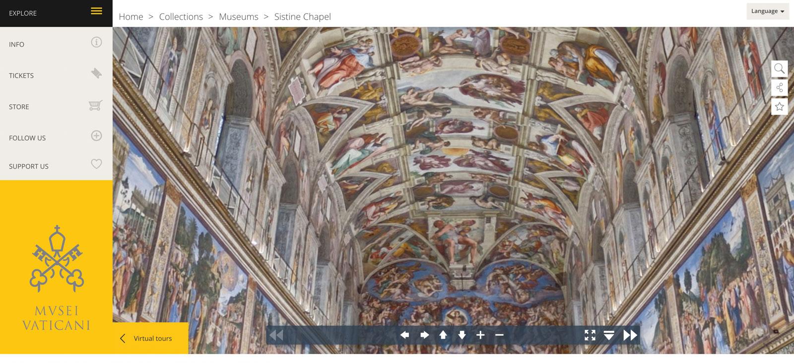 Tela do site oficial com a imagem 360º da Capela Sistina