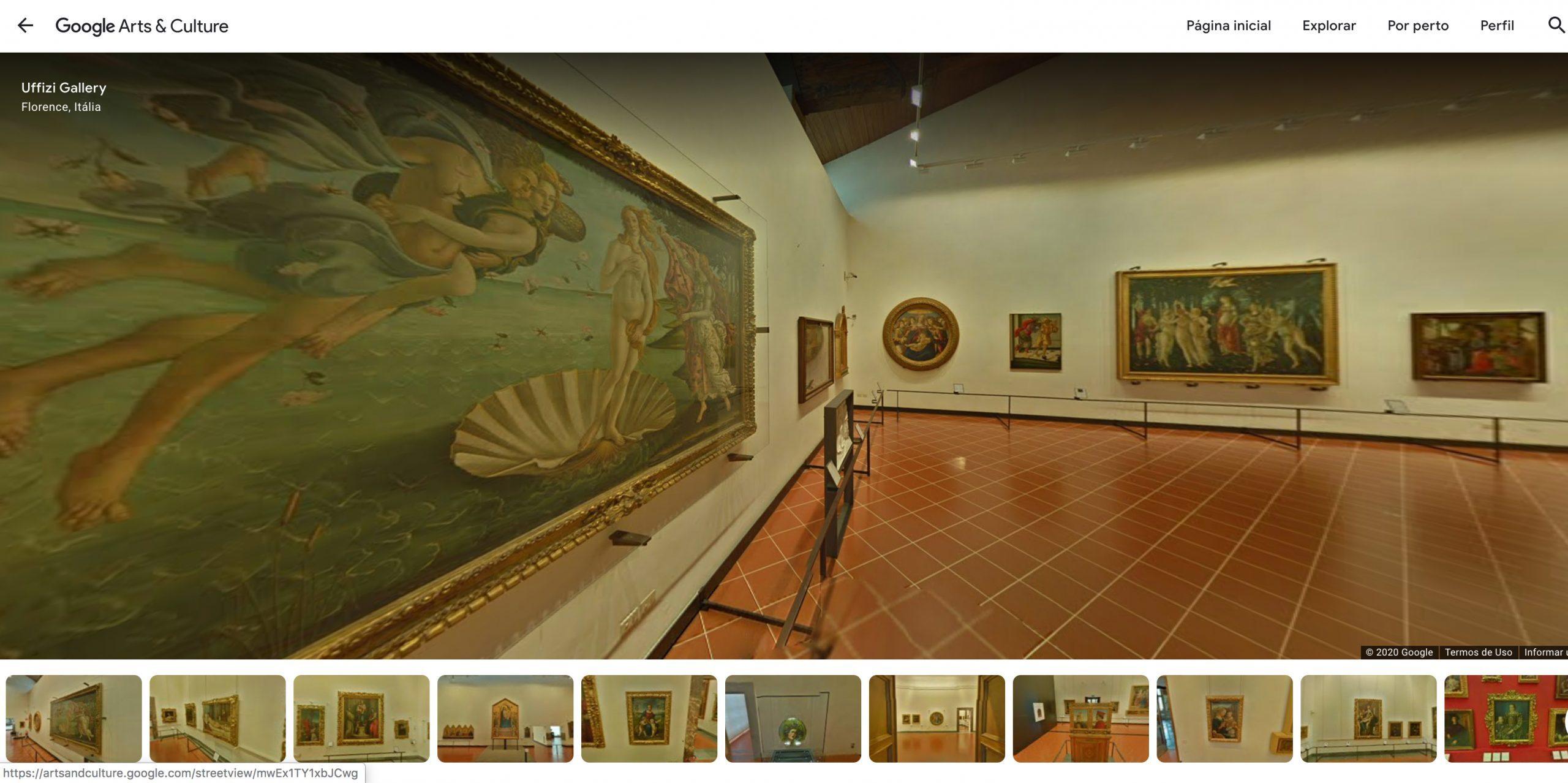 Reprodução do site da Galeria Uffizi no Google Arts & Cultur