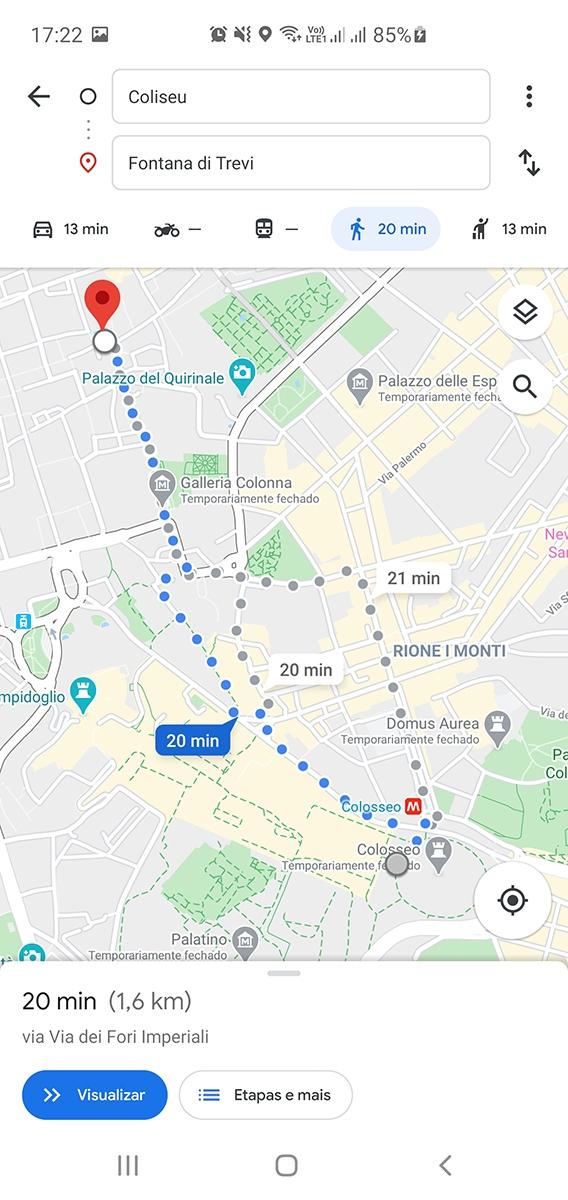 Como usa Google Maps em Viagens