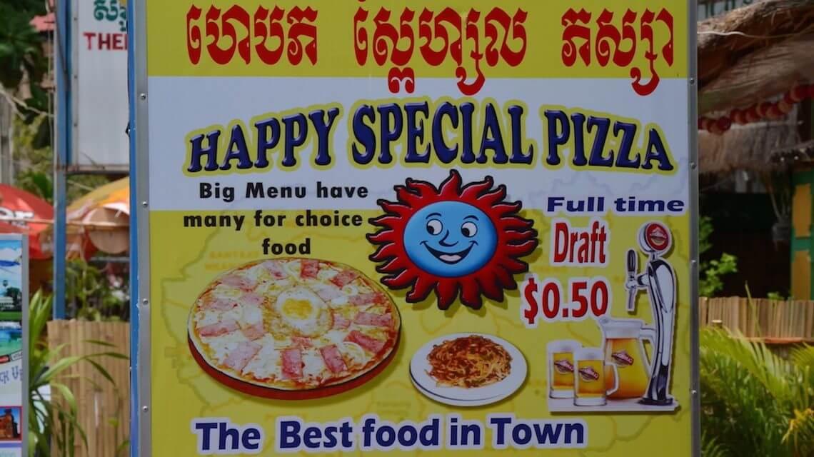 Happy pizza no Camboja