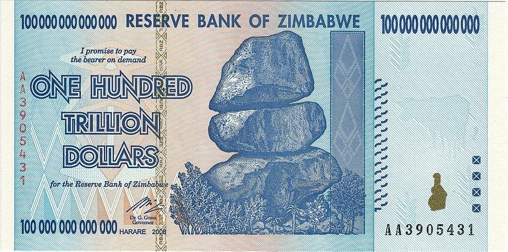 Nota de 100 trilhões de dólares do Zimbábue (ZWD)