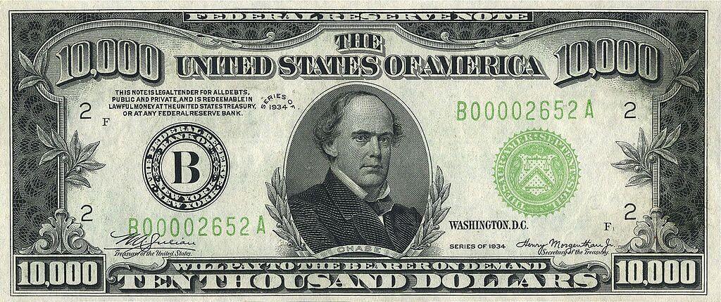 10.000 dólares, uma das notas mais valiosas do mundo
