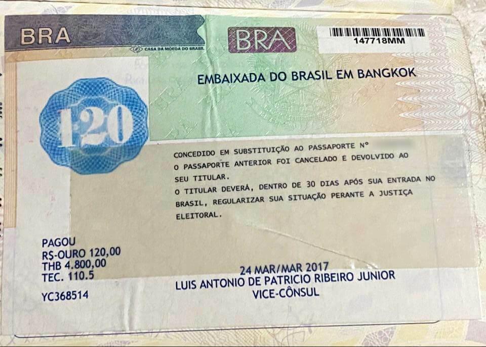 Exemplo de passaporte brasileiro emitido no exterior com pendência eleitoral