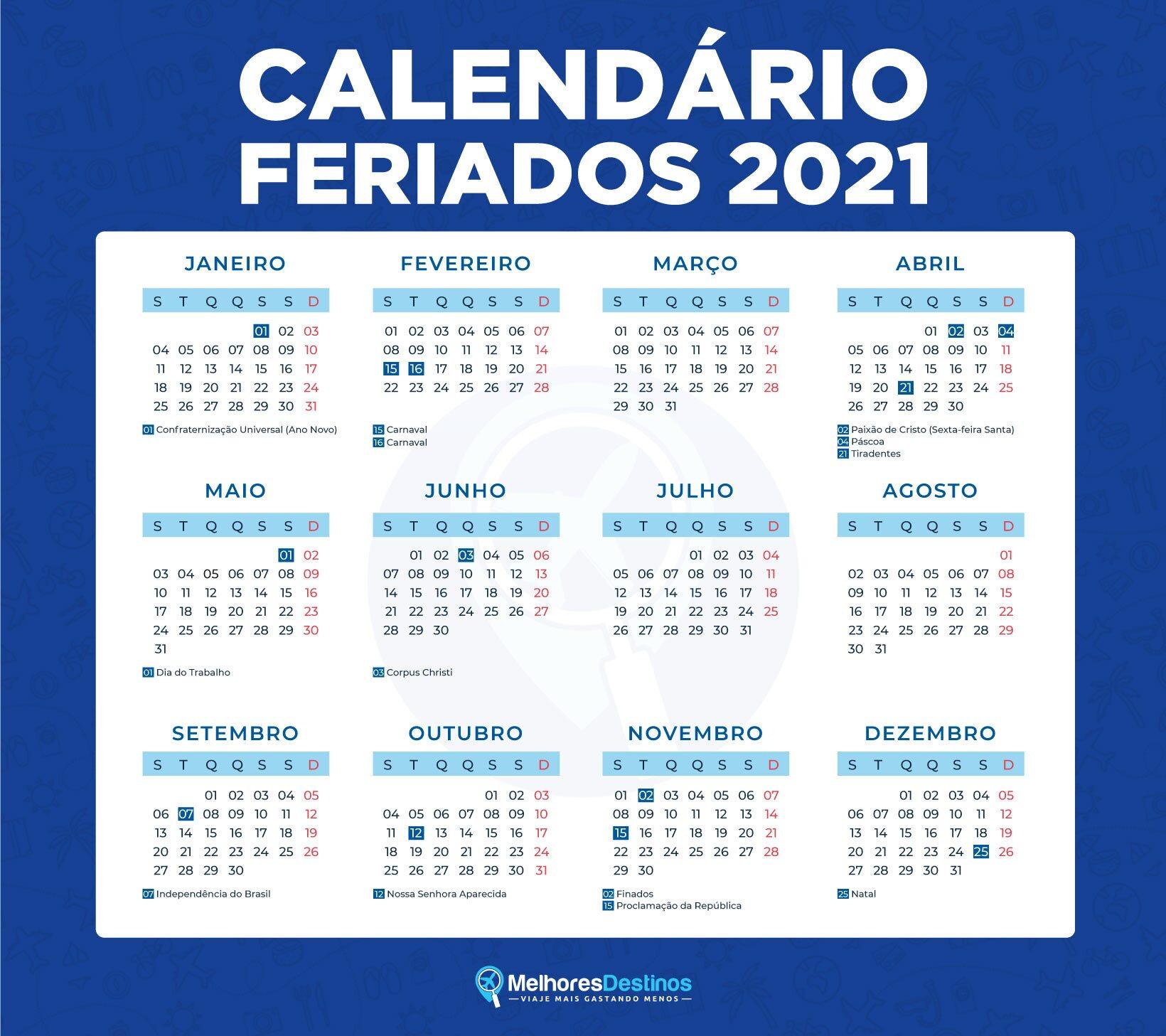 Calendário 2021 feriados