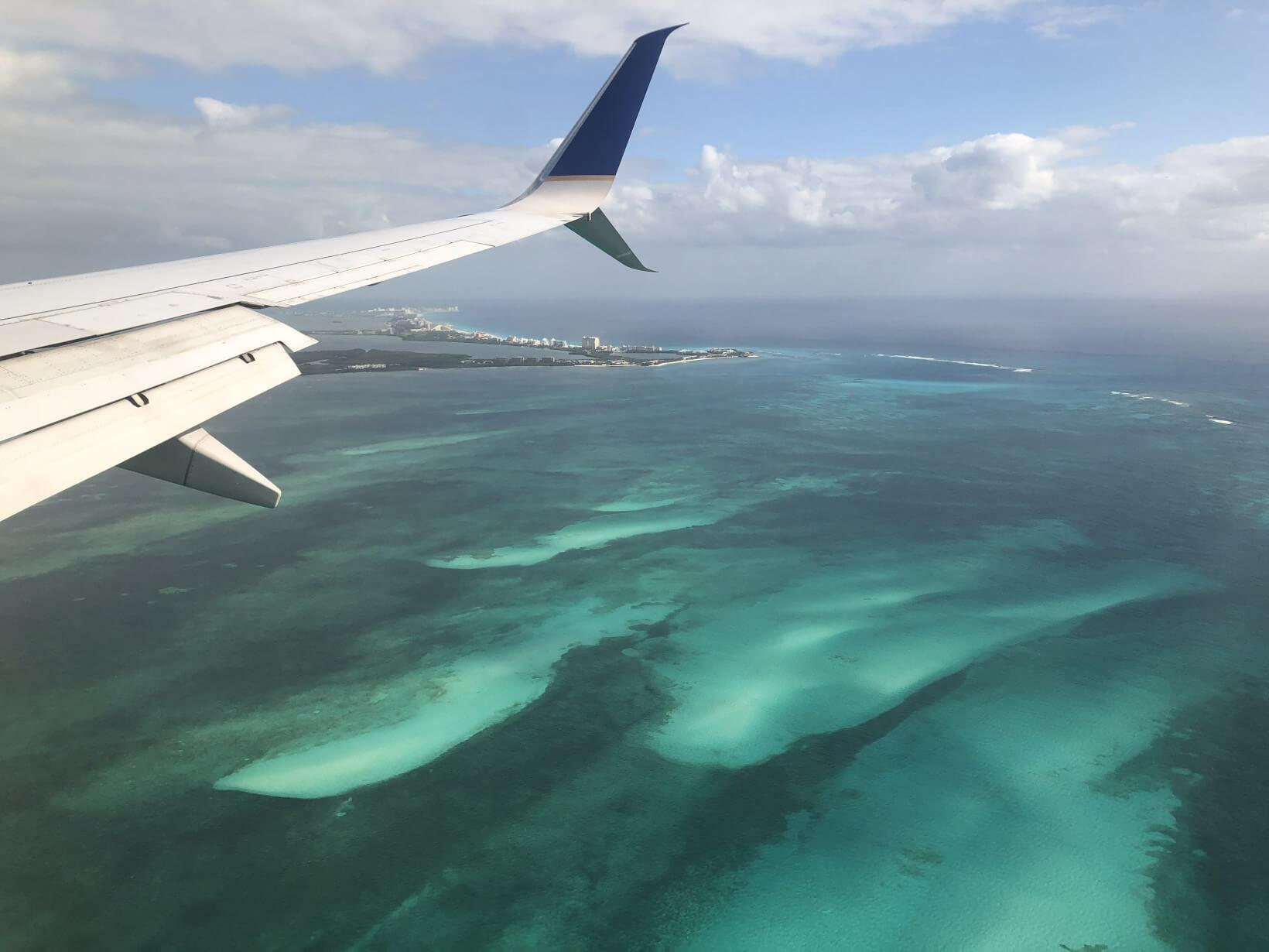 Cancún vista do avião