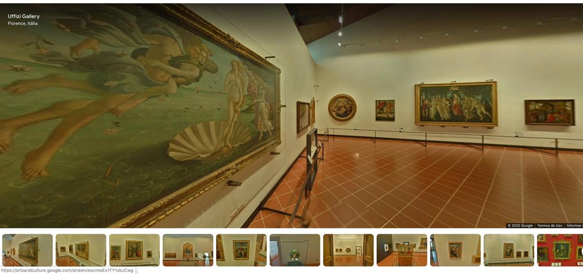 Sala de exposição da obra de arte O Nascimento de Vênus, de Botticelli